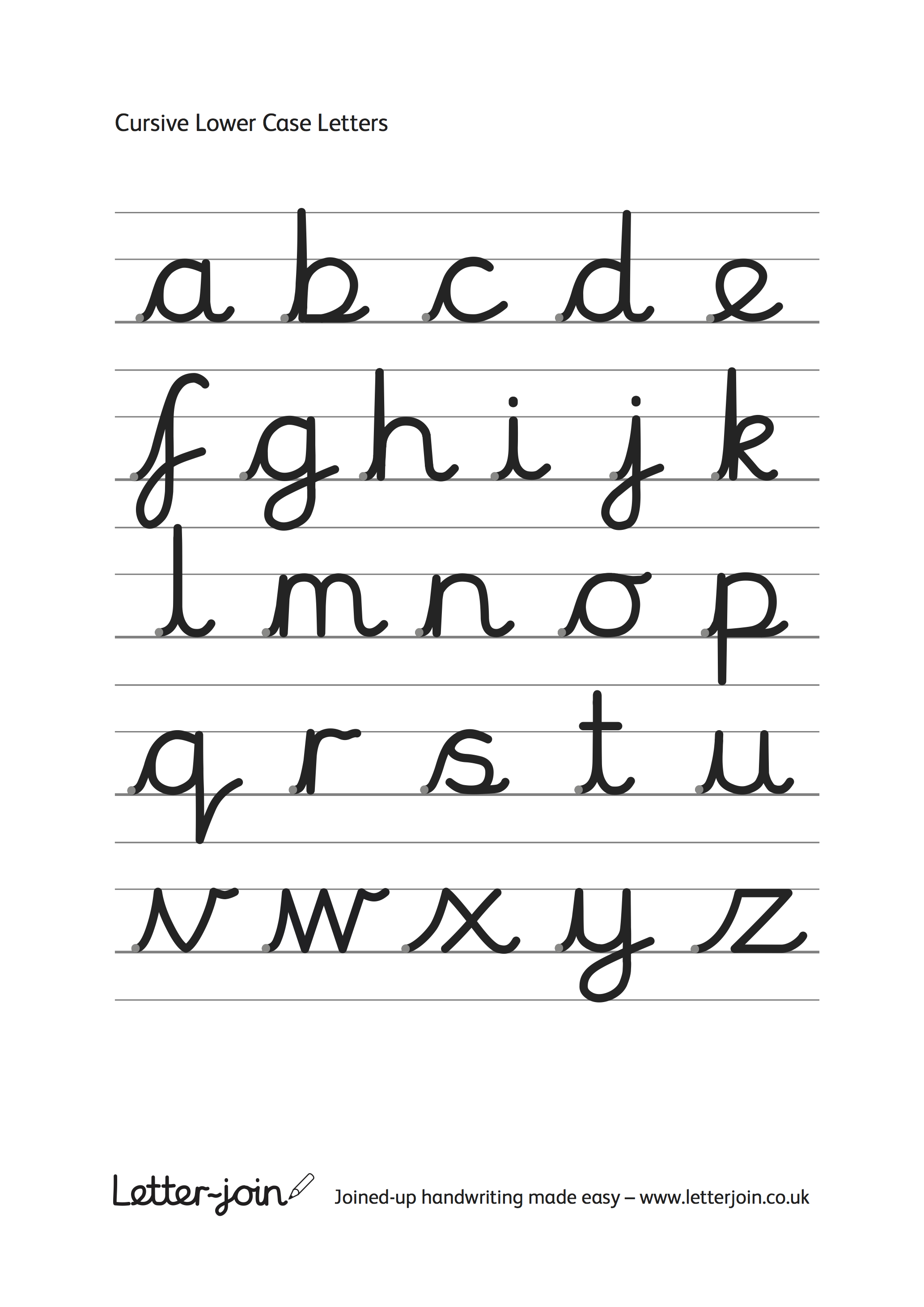 Joined up writing alphabet for preschoolers